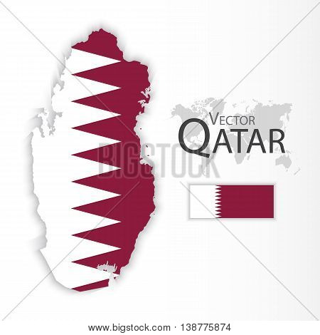 Qatar ( State of Qatar ) ( flag and map ) ( transportation and tourism concept )