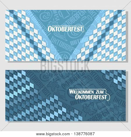 Vector horizontal banners bavarian pattern flag oktoberfest. On Background blue rhombus diamond ticket invitation - symbols Oktoberfest: mug beer, pretzel, tyrolean hat, maple leaf. Flyer Bayern fest