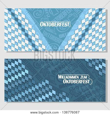 Vector horizontal banners bavarian pattern flag oktoberfest. On Background blue rhombus diamond ticket invitation - symbols Oktoberfest: mug beer, pretzel, tyrolean hat, maple leaf. Flyer Bayern fest poster