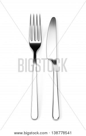 Fork and knife isolated on white background. Photo realistic 3D illustration. Cutlery, kitchen silverware. For use in menu, restaurant printables, web site.