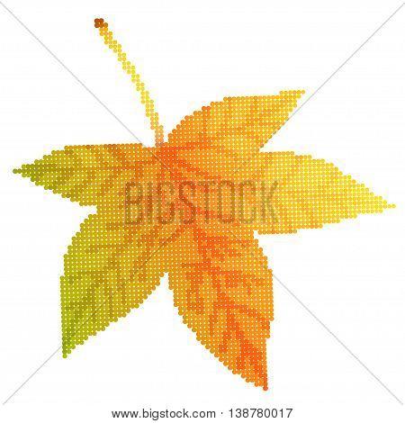 Maple leaf vector illustration, illustration with beautiful autumn sycamore leaf halftone isolated on white background