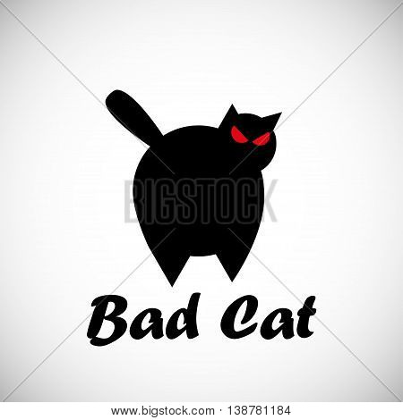 Black big angry cat logo concept vector illustration