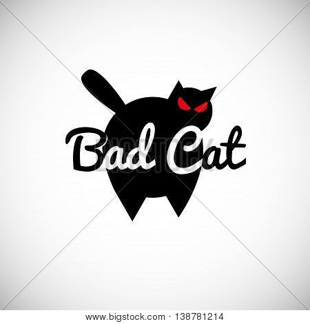 Black bad big cat logo concept vector illustration