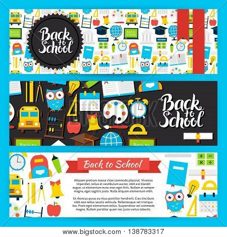 Back to School Horizontal Banners. Flat Style Design Vector Illustration of Brand Identity for Knowledge and Science Promotion.