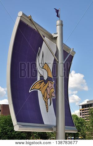 MINNEAPOLIS MN USA - JULY 15 2016:Minnesota Vikings Logo on Sail Near US Bank Stadium in Minneapolis
