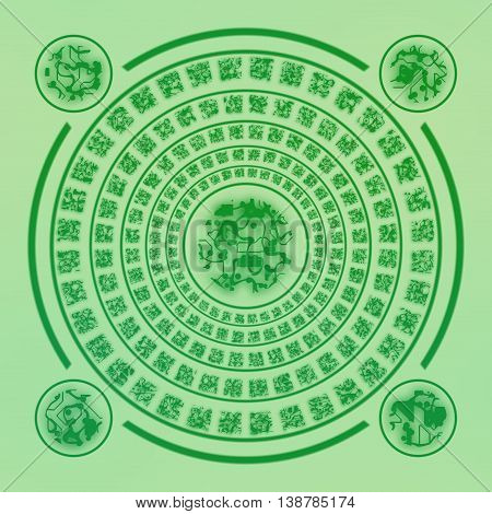 Magic green aged runes circle on green background