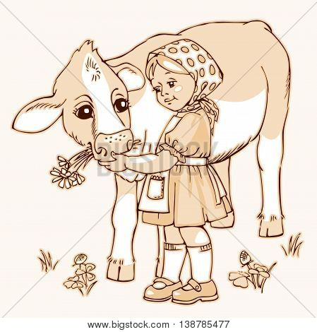 Cute little girl feeding cow on the field