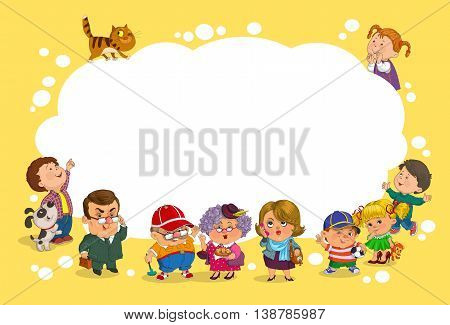 Funny cartoon. Vector illustration. A group of children and adults has a large blank sheet of paper.