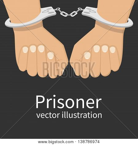 Hands in handcuffs isolated icon. Man in jail prisoner. Vector illustration flat design.