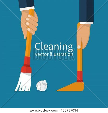Cleaning service. Man holding in hand a broom sweeping garbage collecting in the dustpan. Vector illustration flat design. Brush and scoop.