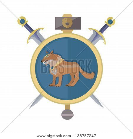 Braun wolf in the gold collar. Isolated avatar icon with swords. Wolf with showing fangs. Stylized fantasy character. Game object in flat design isolated on white background. Vector illustration.