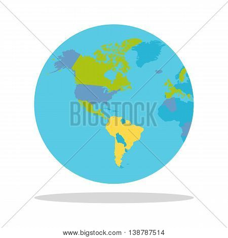 Planet Earth vector illustration. World Globe with political map. Countries silhouettes on the planet surface. Global world concept. North and South America, Pacific and Atlantic oceans on white.
