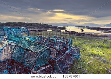 Crab Fishing Creels on Scottish Coast at Low Tide