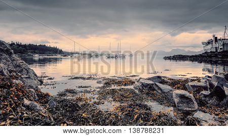 Ferry Crossing Port Southern End of the Sleat Peninsula on the Isle of Skye in Scotland