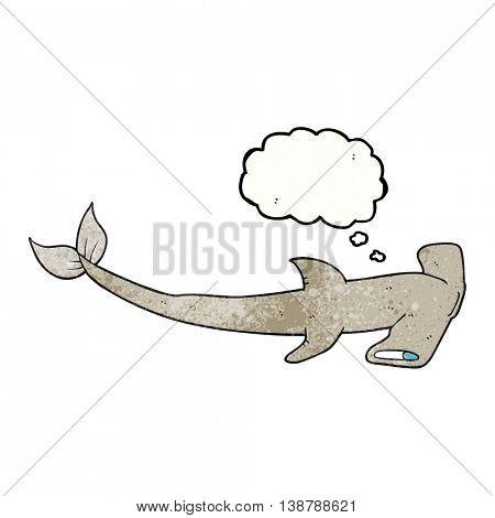 freehand drawn thought bubble textured cartoon hammerhead shark