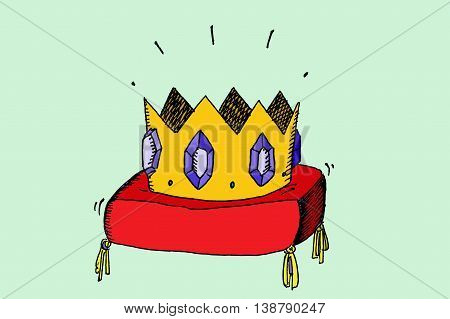 Golden crown with jewels. Hand drawn vector stock illustration.