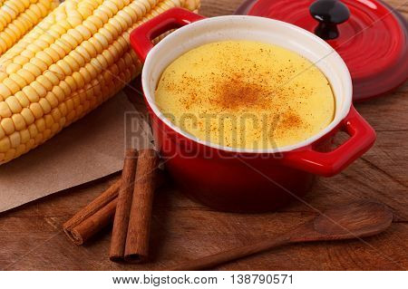 Brazilian Sweet Custard-like Dessert Curau De Milho Mousse Of Corn