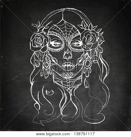 Skull girl. Hand drawn vector stock illustration. Chalk board drawing.