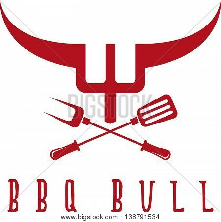 Bull Bbq Rustic Concept Vector Design Template