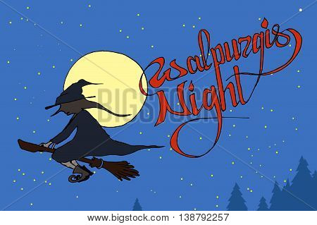 Walpurgis Night sky. Witch flying on broom. Hand drawn vector stock illustration.