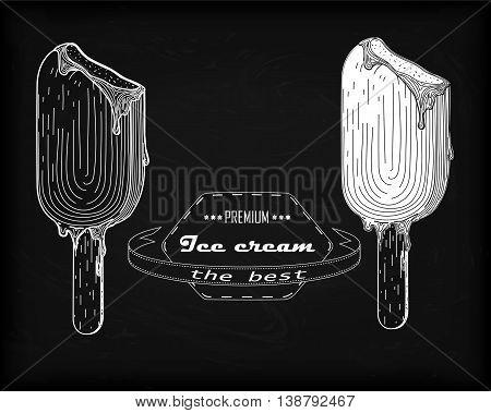 Icecream Eskimo Pie, Tasty Frozen Stick Confection Ice Cream With Delicious Organic Chocolate Glaze