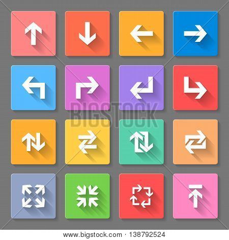 Set of flat square icons with arrows on a gray background