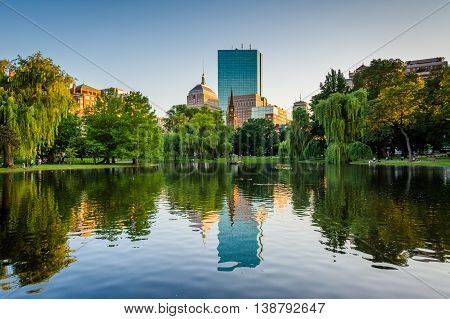 The Lake At The Boston Public Garden And Buildings At Copley Square, In Boston, Massachusetts.