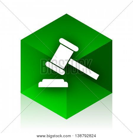 auction cube icon, green modern design web element