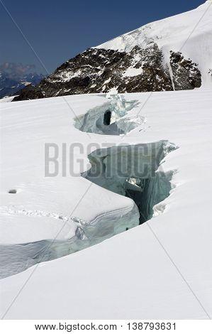 big crevasse on lys glacier on monte rosa