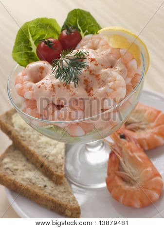 Prawn Cocktail in a glass with Brown Bread