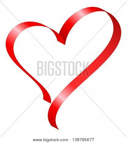 Red ribbon in heart shape. Vector illustration