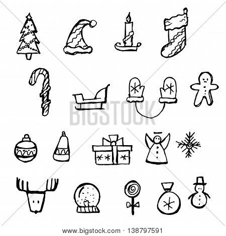 Christmas icons set. Holiday objects collection. Hand drawn vector stock illustration. Black and white whiteboard drawing.