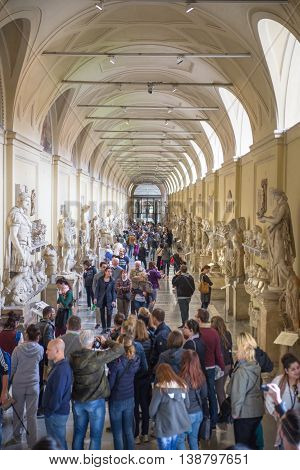 ROME, ITALY - APRIL 8, 2016: Roman's marble sculptures collection  Museums of Vatican. Exhibition hall