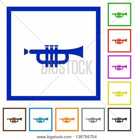 Set of color square framed trumpet flat icons