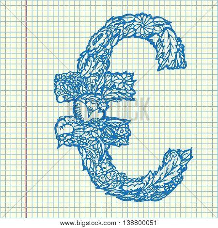 Euro icon. Hand drawn vector stock illustration. Sheet ball pen drawing.