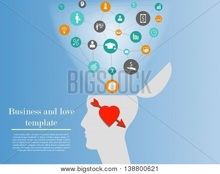 Business and love template. Illustration of business man in love who can not think about career and affairs and lose his professional skills. Concept of one side of connection of love and business
