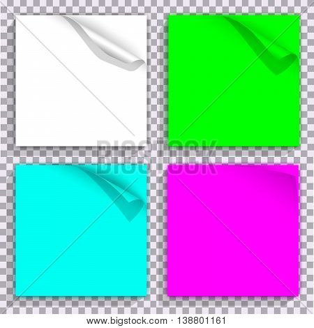 Curled corner on color set of paper blocks. For background design with curled corner, web graphic with curled corner, banners with curled corners. Vector illustration
