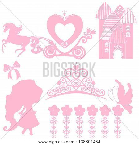 Cinderella set of collections. Crown Vector illustration. design elements for little Princess glamour girl. cards for birthday wedding invitation. the carriage the Palace Pegasus dancing