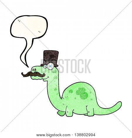 freehand speech bubble textured cartoon posh dinosaur