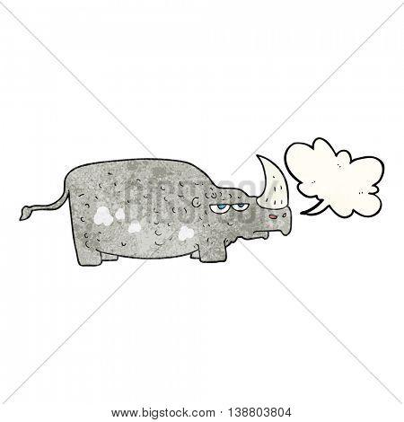 freehand speech bubble textured cartoon rhino