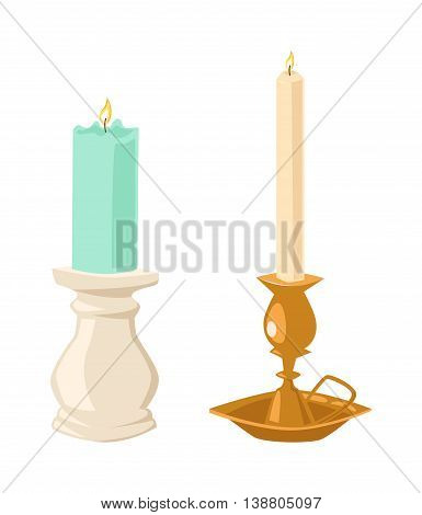 Vector candles flat style. Candles light flame christmas candlelight wax decoration. Celebration glowing religion candles birthday traditional decoration. Romance night or birthday party bright flame