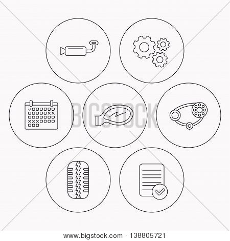 Tire tread, car mirror and timing belt icons. Muffler linear sign. Check file, calendar and cogwheel icons. Vector