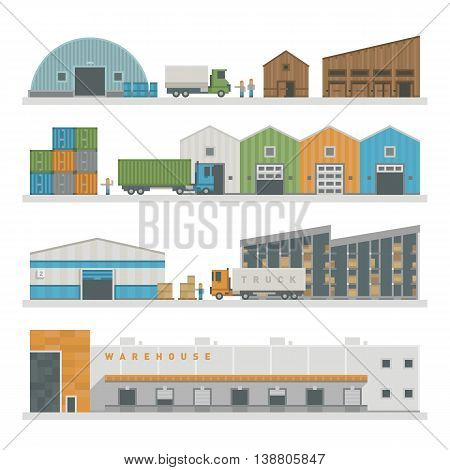 Large warehouse preparing goods for dispatch industry and warehouse cargo transport shipping package buildings. Warehouse buildings industry flat vector