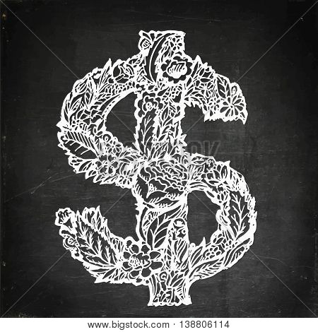 Dollars sign icon. USD currency symbol. Money label. Hand drawn vector stock illustration. Chalk board drawing.