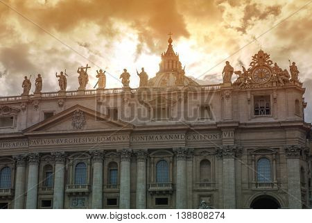 ROME, ITALY - APRIL 8, 2016: Facade of the Saint Peter's Basilica and balcony where Pope stands, St.Peter Square, Rome. Vatican
