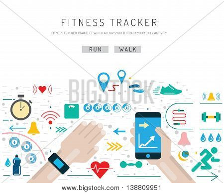 Set of icons fitness bracelet. Fitness tracker pedometer. Fitness tracker with alarm function. Sync fitness tracker and smart phone.