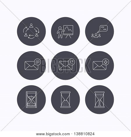 Teamwork, presentation and meeting chat bubbles icons. E-mail inbox, hourglass linear signs. Flat icons in circle buttons on white background. Vector