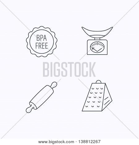 Kitchen scales, rolling pin and grater icons. BPA free linear sign. Flat linear icons on white background. Vector