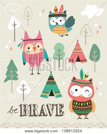 Be brave. Quote poster with cute cartoon owls.