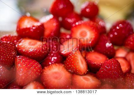 Fresh cut strawberry in Germany in early summer